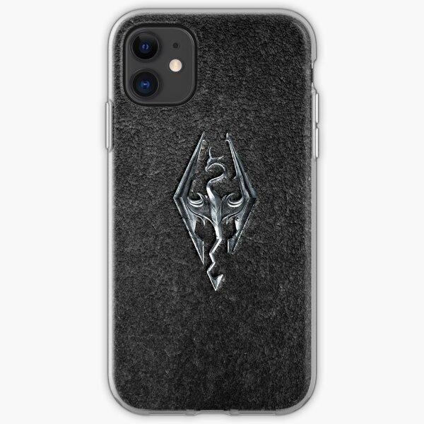Skyrim Logo - Iron Embossed in Granite iPhone Soft Case