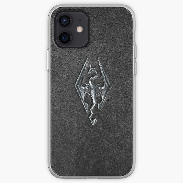 Skyrim Logo - Iron Embossed in Granite iPhone Soft Case