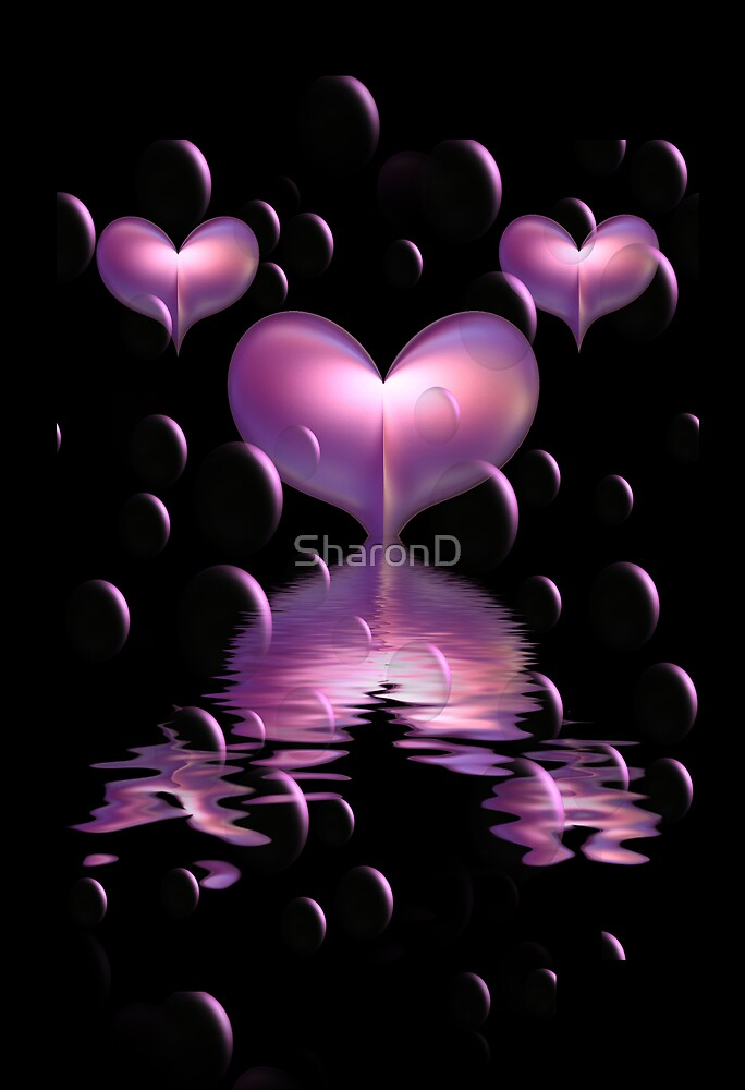 Purple Hearts and Bubbles by SharonD