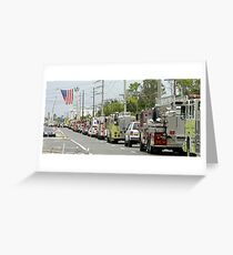 Firefighter funeral procession Greeting Card