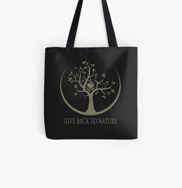Give Back to Nature - Kaki Grunge All Over Print Tote Bag