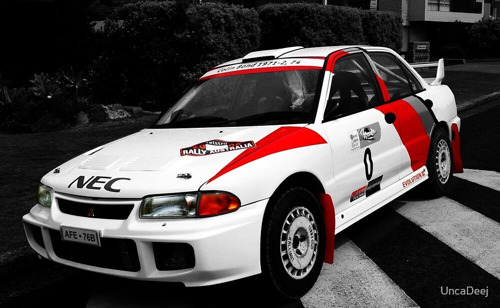 Rally car on b&w by UncaDeej