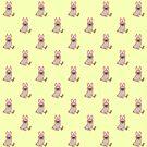 «Perro Pug en un patrón de disfraces de conejo» de EuGeniaArt