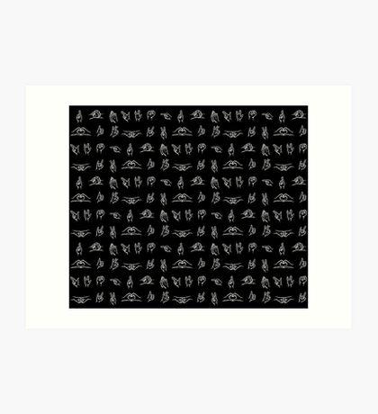 Hand Signals - White Art Print