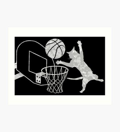 Slam Puss (Grey) Art Print