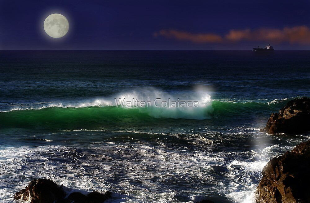 Seascape with Moon by Walter Colaiaco