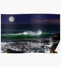 Seascape with Moon Poster