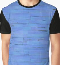Blue Wooden Planks Wall Graphic T-Shirt