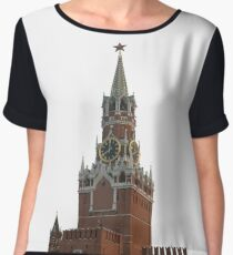 The famous Spasskaya tower of Moscow Kremlin, Russia Chiffon Top