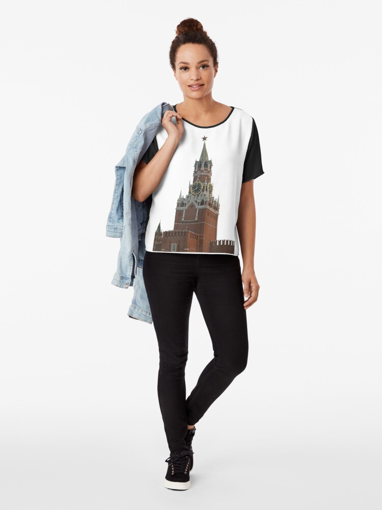 Alternate view of The famous Spasskaya tower of Moscow Kremlin, Russia Chiffon Top