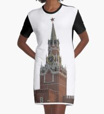 The famous Spasskaya tower of Moscow Kremlin, Russia Graphic T-Shirt Dress
