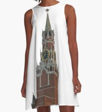 The famous Spasskaya tower of Moscow Kremlin, Russia A-Line Dress