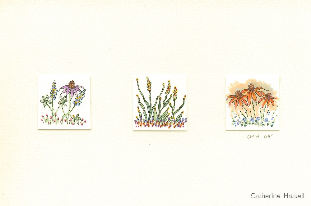 Flower Inchie Trio by Catherine  Howell