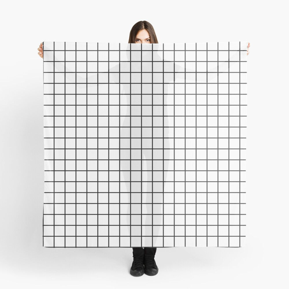Emmy -- Black and White Grid, black and white, grid, monochrome, minimal grid design cell phone case Scarf