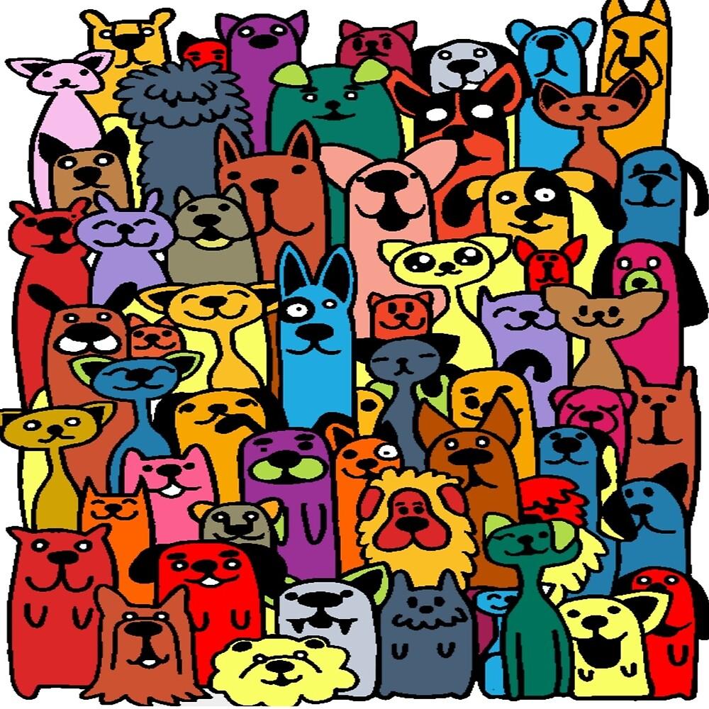 Dog, Cute Humorous Endless-Repeat Cartoon Art by Melody Koert