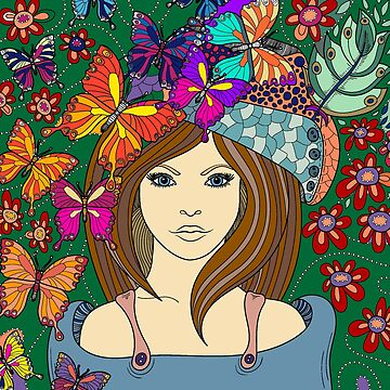 Doodle Art Illustration, Vintage, Girl and Butterflies by Yapsalot