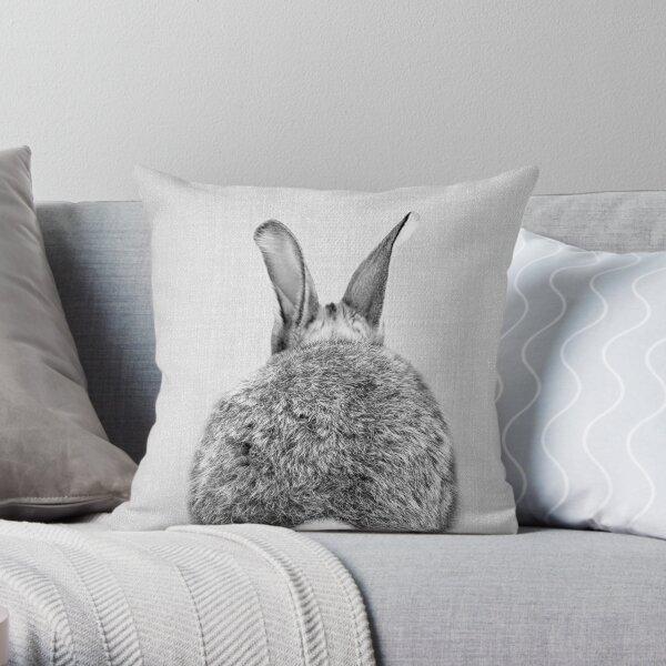 Rabbit Tail - Black & White Throw Pillow