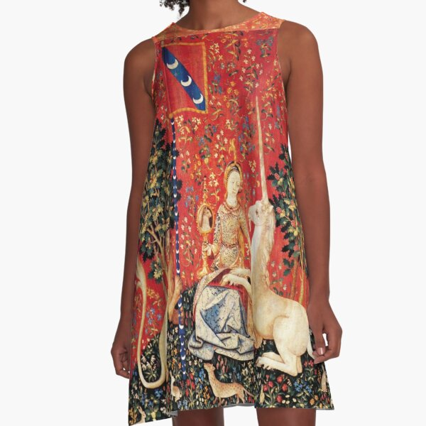 LADY AND UNICORN ,SIGHT  Red Green Fantasy Flowers,Animals A-Line Dress