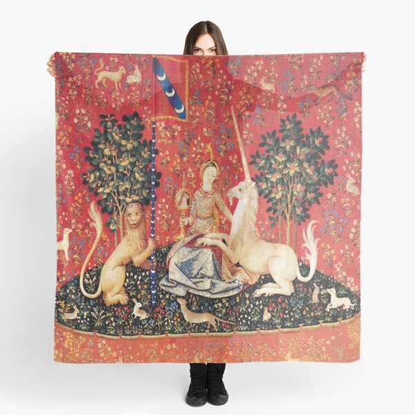 LADY AND UNICORN ,SIGHT  Red Green Fantasy Flowers,Animals Scarf