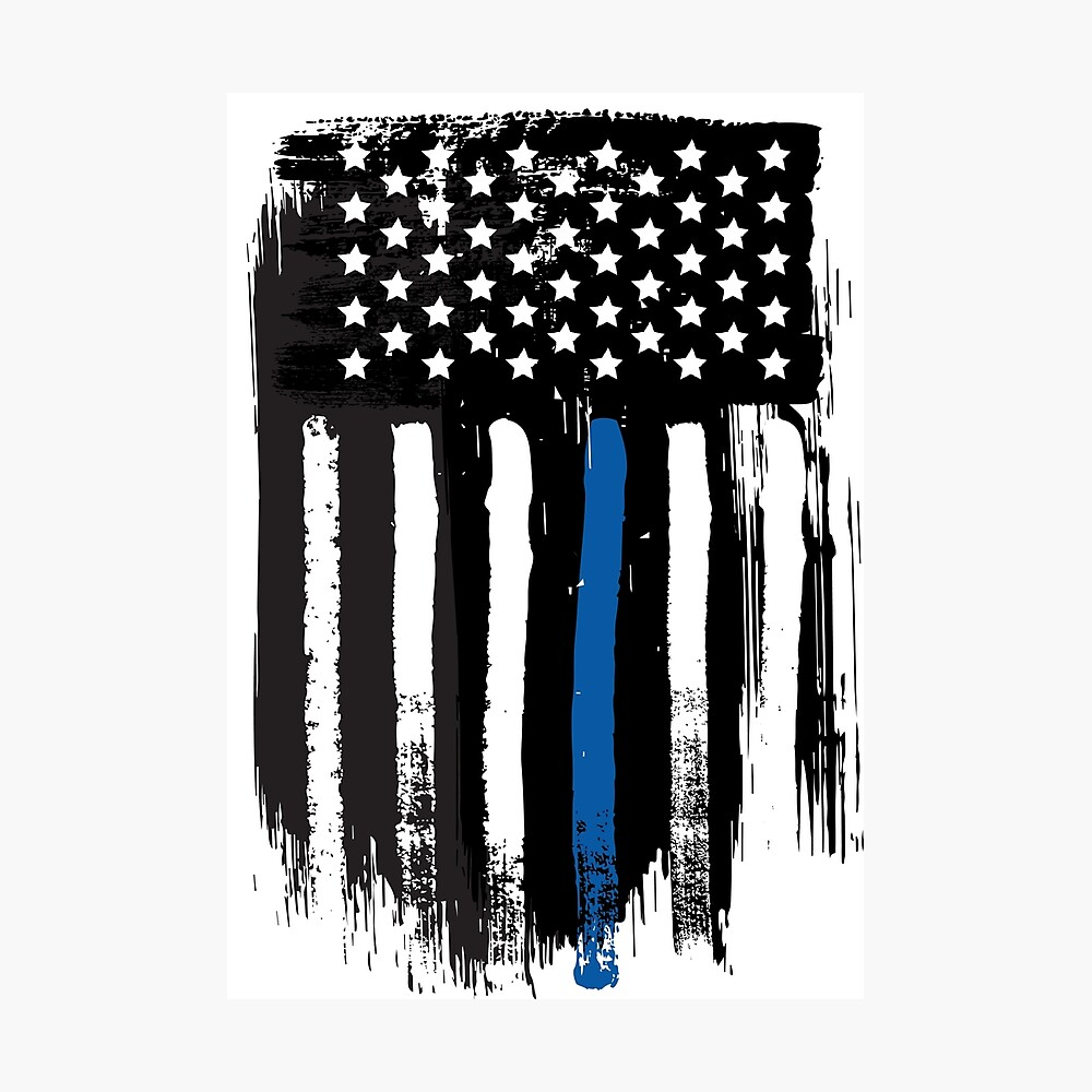 Thin Blue Line Vertical Flag Poster By Rjzinger Redbubble