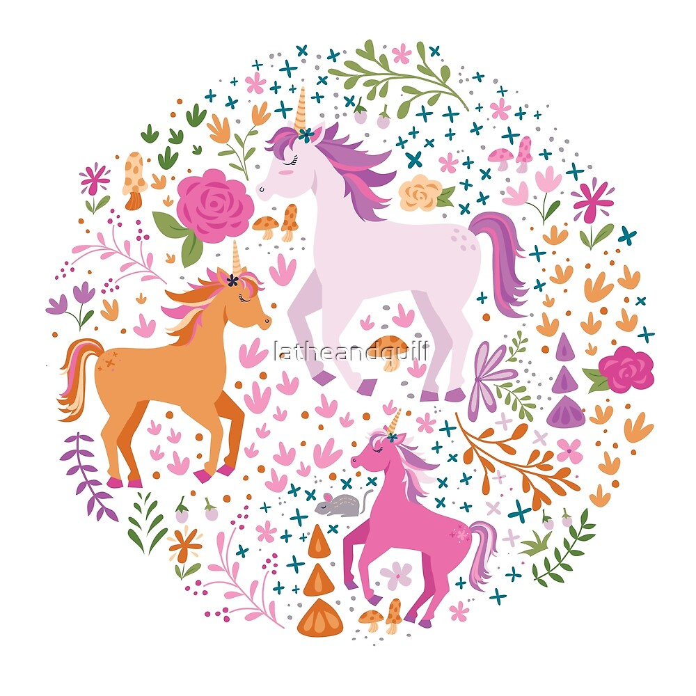 Unicorns in the Flower Garden by latheandquill