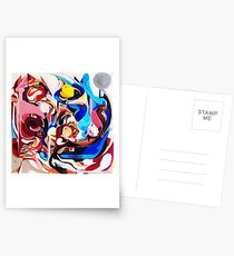 Expressive Abstract People Composition painting Postcards