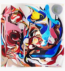 Expressive Abstract People Composition painting Poster