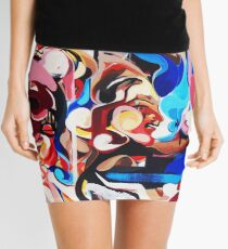 Expressive Abstract People Composition painting Mini Skirt