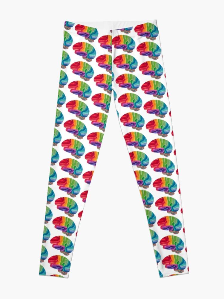 Alternate view of Embroidered Look - Rainbow Brain  Leggings