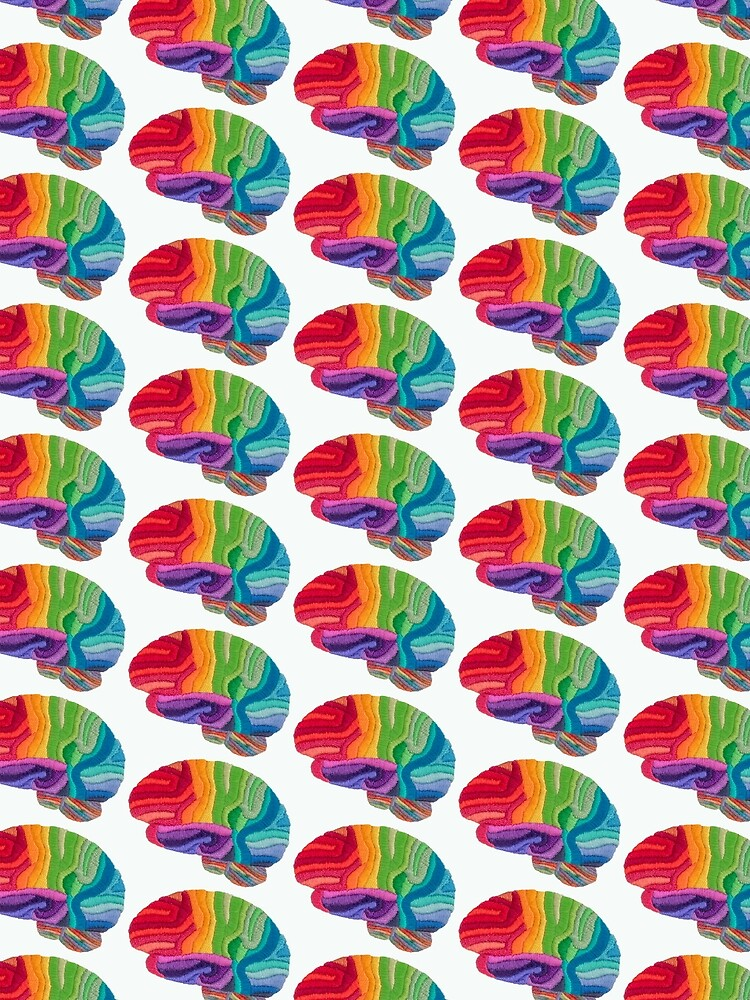 Embroidered Look - Rainbow Brain  by Laurabund