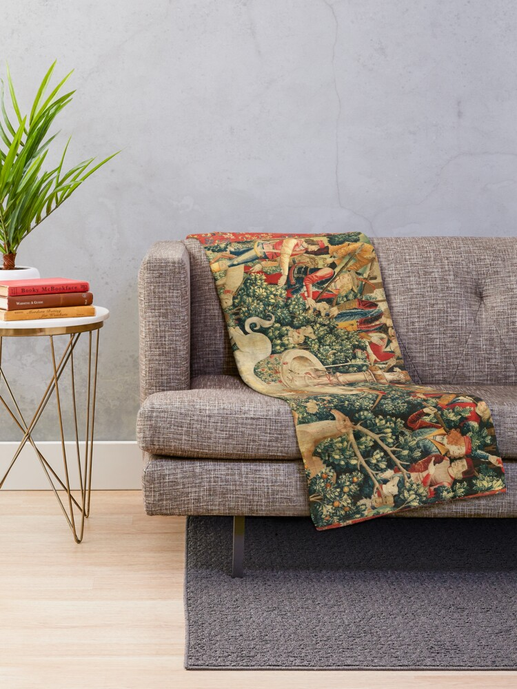 Alternate view of UNICORN IS FOUND / Fountain,Other Animals,Green Floral Throw Blanket