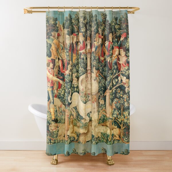 UNICORN IS FOUND / Fountain,Other Animals,Green Floral Shower Curtain