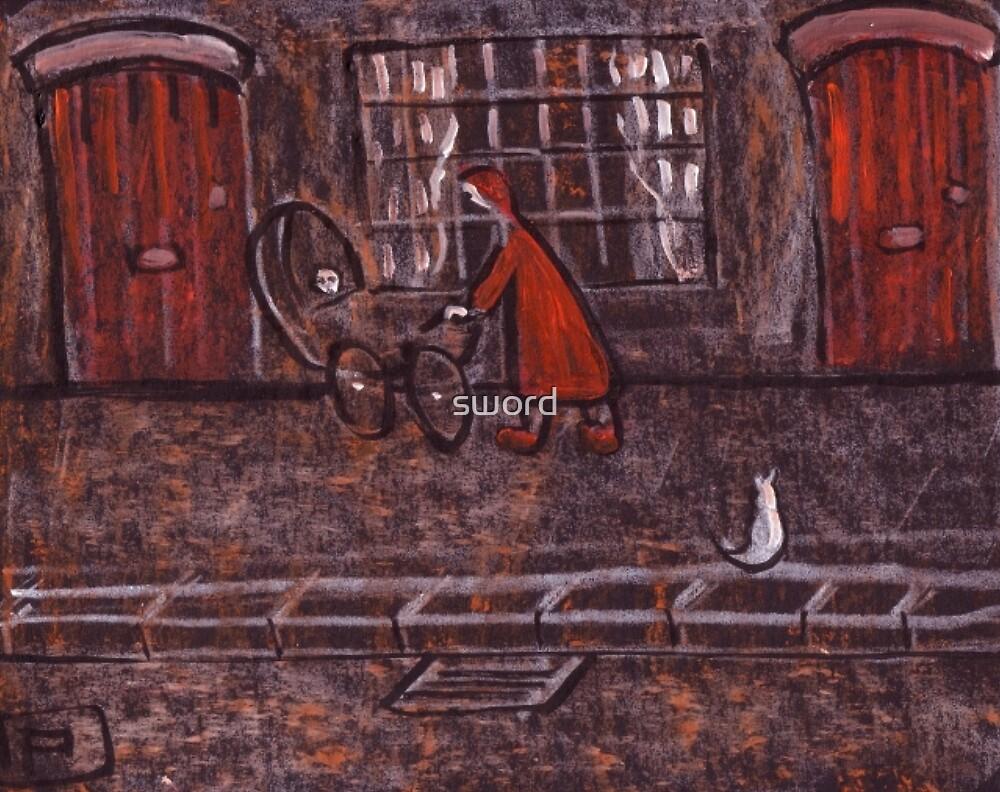 Woman Pushing a Pram by sword