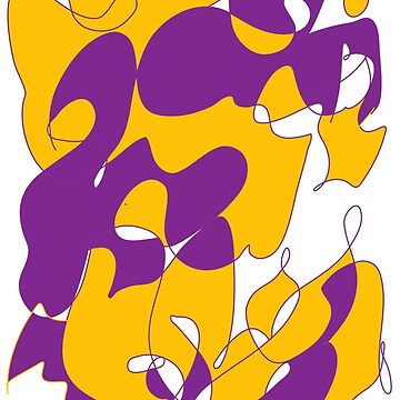 Purple Mustard yellow abstract  art by Christidesigns