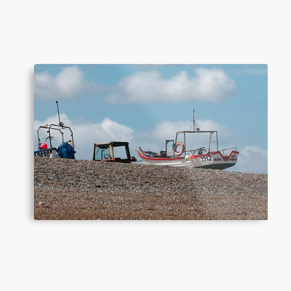 Cley-next-the-Sea boats on the shore Metal Print
