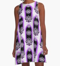 The Magical Lotus Emanation Black Purple A-Line Dress