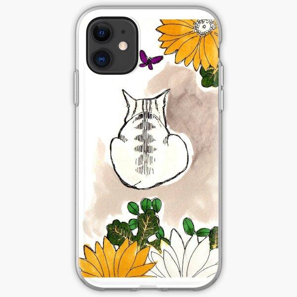 Dessin chat fleurs jaunes Coque souple iPhone