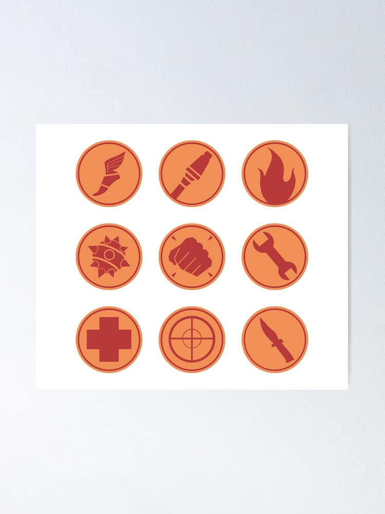 Alternate view of TF2 RED Class Symbols Poster