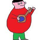 "Fat singer ""Joe"" playing his banjo! by Gabe-Draws"