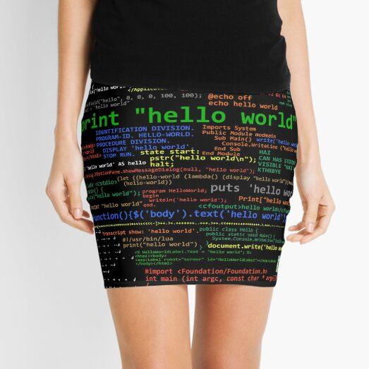 Hello World - Many Programming Languages (dark) Mini Skirt