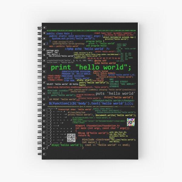 Hello World - Muchos lenguajes de programación (oscuro) Cuaderno de espiral