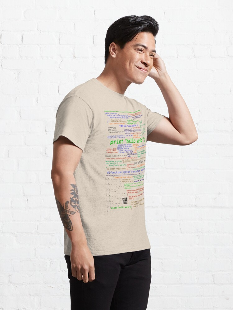 Alternate view of Hello World - Many Programming Languages (light) Classic T-Shirt