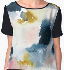 Indigo Abstract Watercolor  Chiffon Top