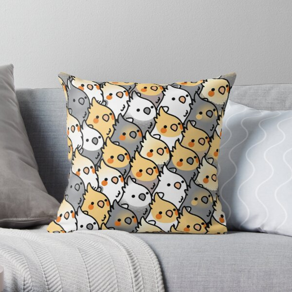 Chubby Cockatiel Party Throw Pillow