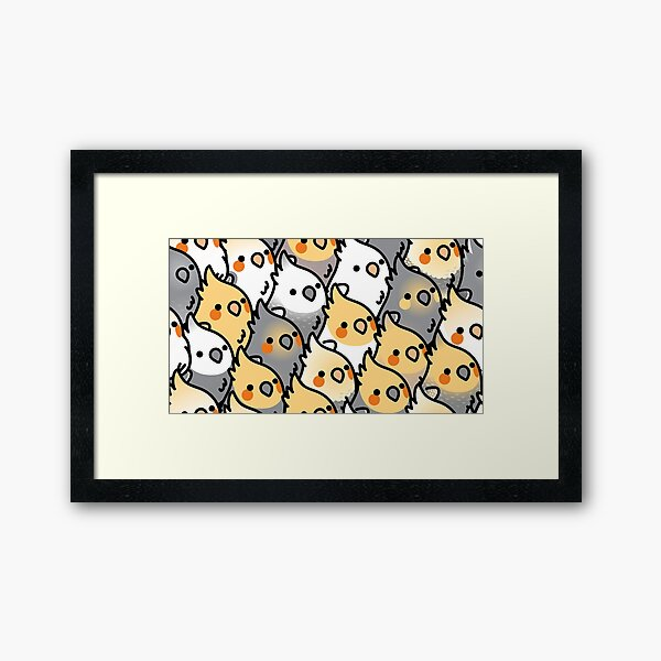 Chubby Cockatiel Party Framed Art Print
