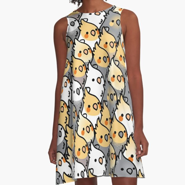 Chubby Cockatiel Party A-Line Dress