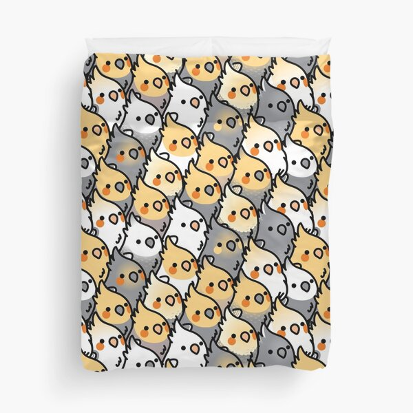 Chubby Cockatiel Party Duvet Cover