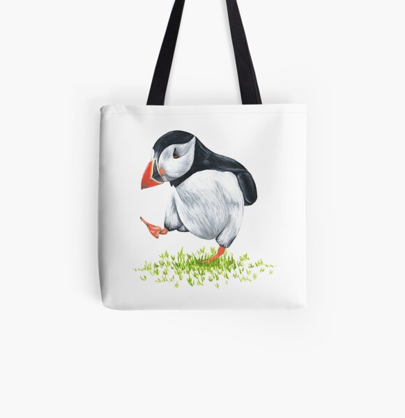 Dancing Puffin All Over Print Tote Bag