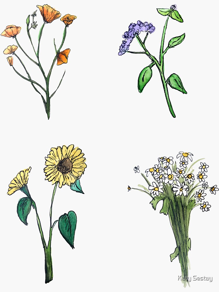 Wildflower Boho Hippie Stickers by mountainwoman
