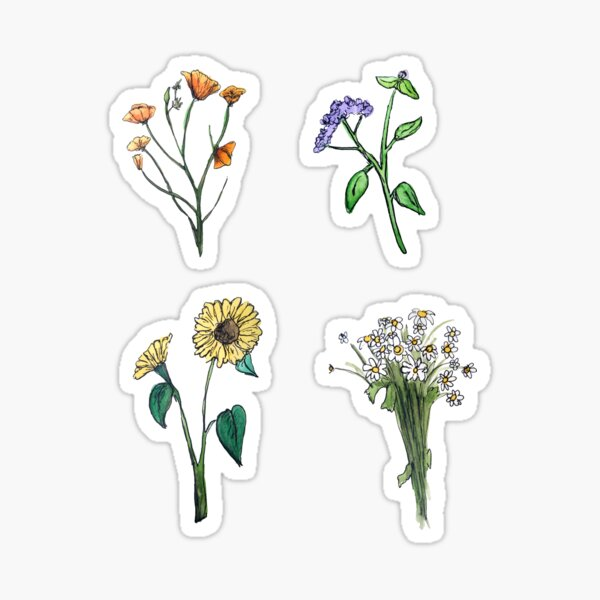 Wildflower Boho Hippie Stickers Sticker